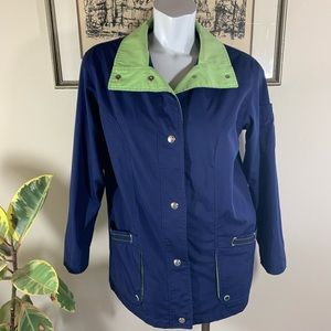 Macintosh New England Jacket in Navy Blue & Green